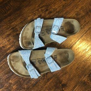 Birkis Blue Birkenstock Sandals size 8 women's.GUC